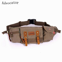 2016 Canvas Bag Fashion Casual Men S Pockets Retro Travel Waist Pack Small Belt Bags Outdoor