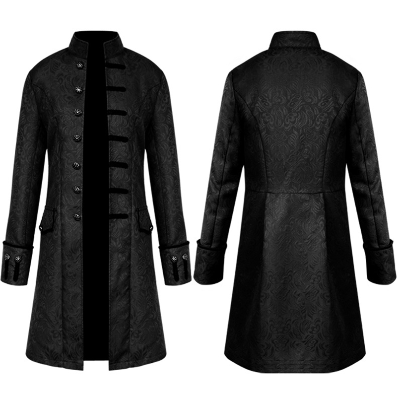 Men Vintage Jacket Velvet Trim Steampunk Jacket Long Sleeve Gothic Brocade Jacket Frock Uniform Coat