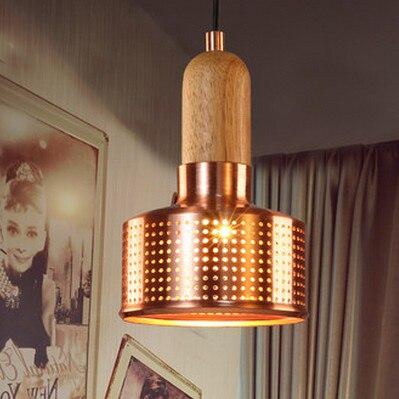 Pendentif vintage américain en métal Loft en acier inoxydable creux en bois petit éclairage suspendu pour la surface du trou des restaurants