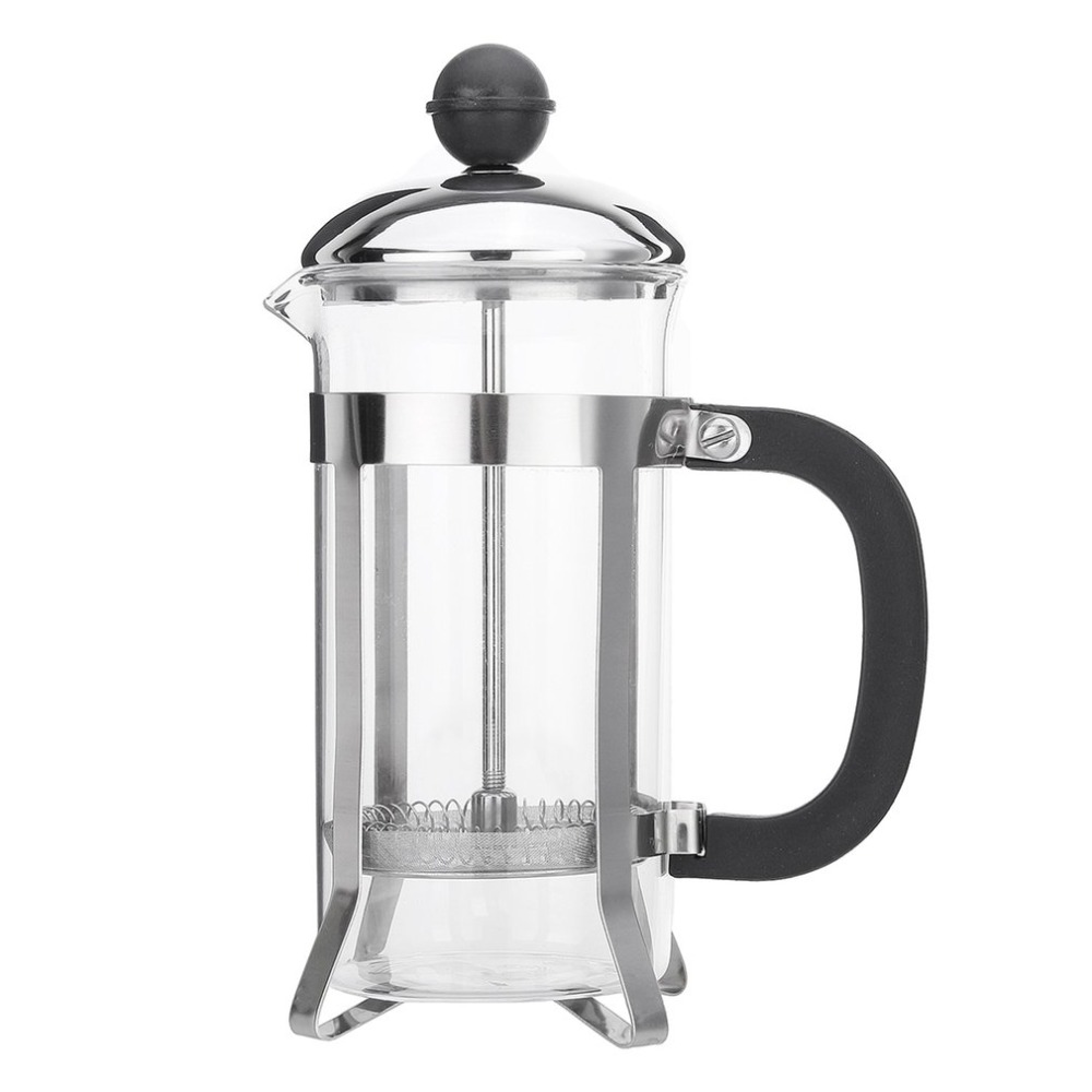 350ML Compact Size Household Use Stainless Steel Glass French Press Pot Filter Cafetiere Tea Coffee Maker Coffee Tool
