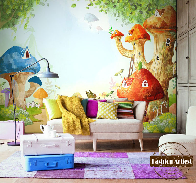 Sofa making picture more detailed picture about custom for Child mural wallpaper