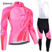 BXIO Mujer MTB Winter Cycling Sets Ropa Ciclismo Invierno Fluo Pink Thermal Fleece Bike Jerseys Autumn Women Bicycle Kits 123