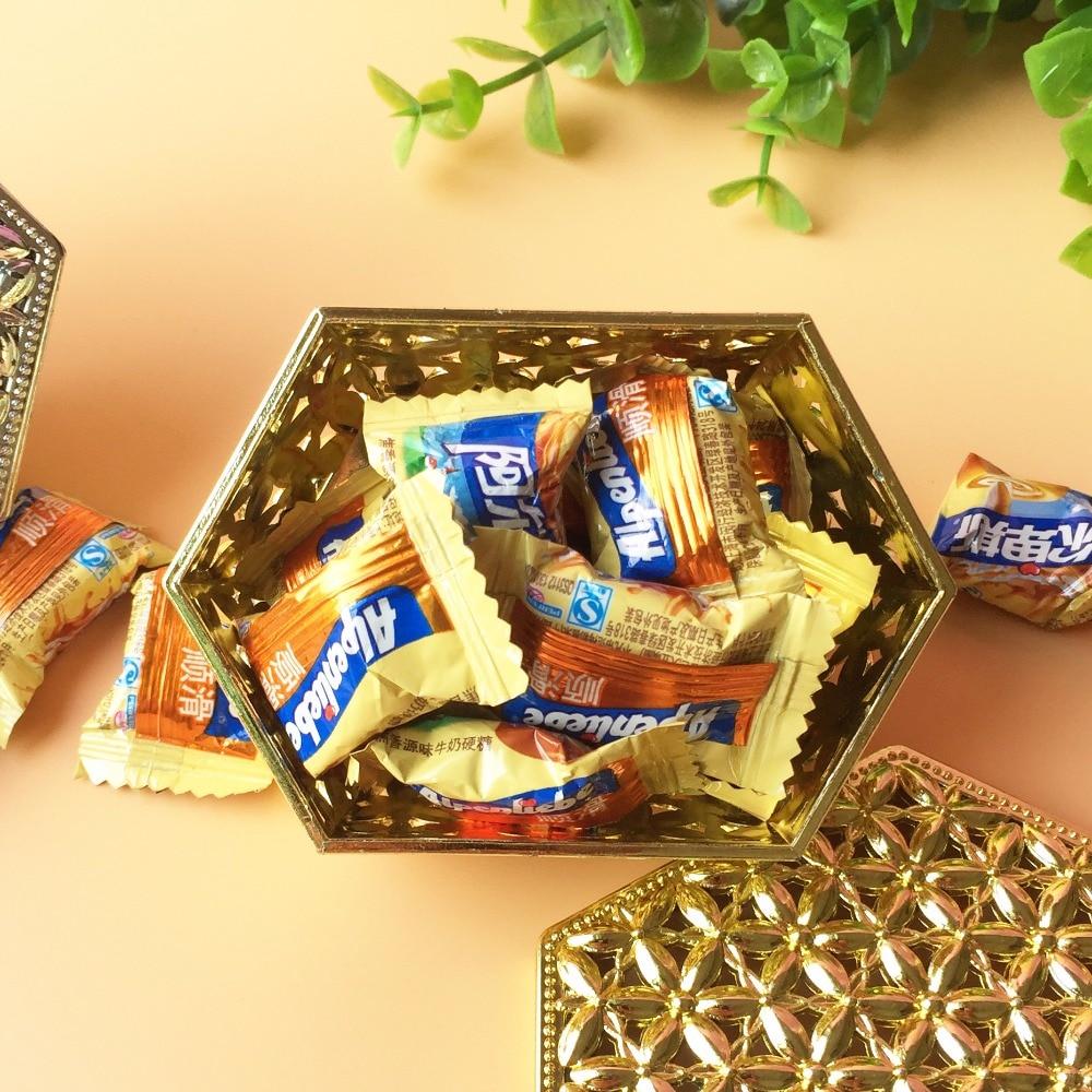 400pcs/lot Creative candy box rectangular hexagonal hollow plating gold and silver rectangular plastic candy box