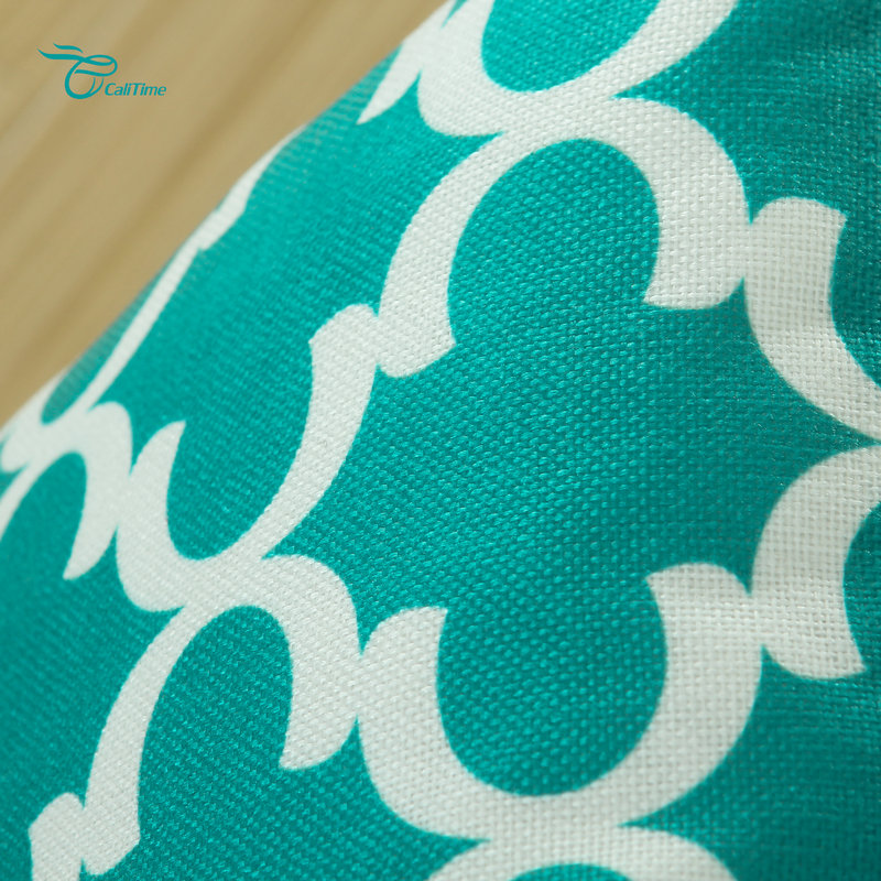 2PCS Square CaliTime Cushion Cover Pillows Shell Quatrefoil Accent Geometric Home Sofa Decor 20 X 20(50cm X 50cm) Teal