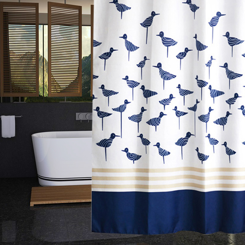 RUBIHOME Shower Curtain For Bathroom PEVA Thicken Waterproof Decor Blue  Bird Yellow Stripes With Hooks Online Buy Wholesale blue yellow shower curtain from China blue  . Blue And Yellow Shower Curtain. Home Design Ideas