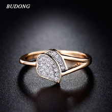BUDONG Luxury Rings for Women Valentine Present Love CZ Crystal Gold Color Mid Ring Zirconia Wedding Band Jewelry xuR246