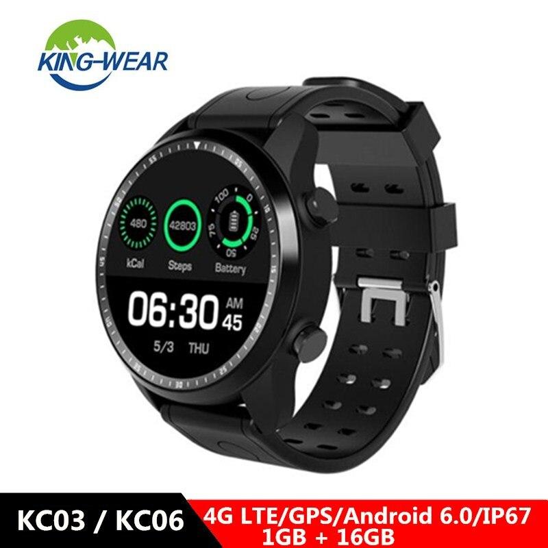 KingWear KC03/KC06 4G Smartwatch téléphone 1.3 pouces Android 6.0 MTK 6737 1.2 620 GHz 1 GB RAM 16 GB ROM mAh montre intelligente intégrée
