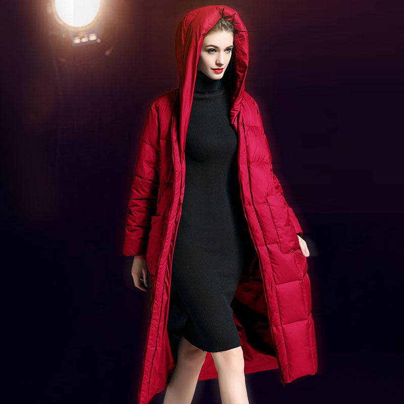 Manteau 90 Épais Long Canard Nouveau L'ukraine Black Taille Lâche Femme Wz585 Duvet D'hiver Cent Veste 2018 La Pour Type gray Blanc Parkas red De Plus Femmes Cocon BedCxro