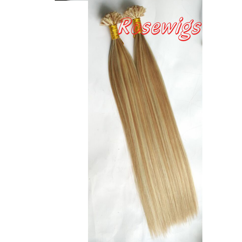 #6/#613 Highlight Human Hair Extensions 10-28 Pre Bonded Glue Nail/U Tip Remy Hair Straight Blonde European Hair