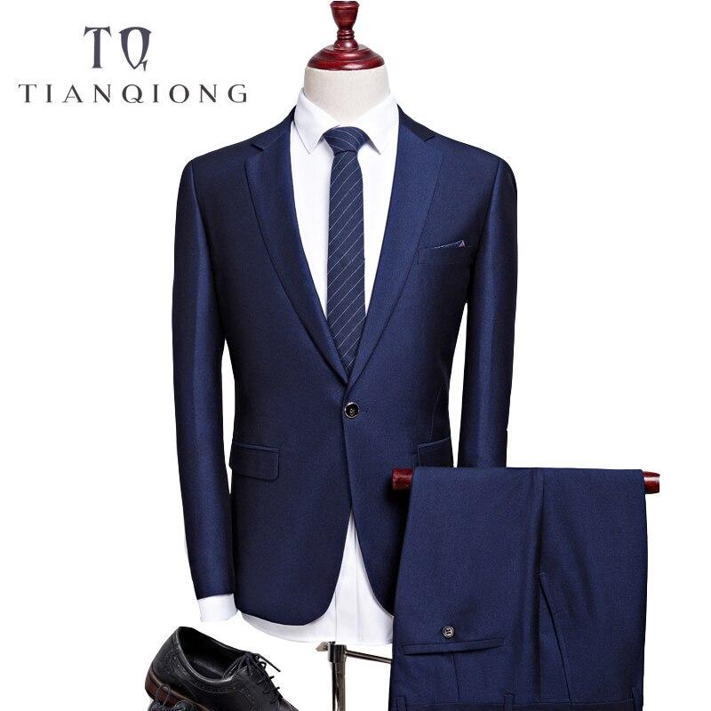 TIAN QIONG Cheap Latest Coat Pant Designs Autumn High Quality Casual Blue Suits Men, Wedding Dress Men,Jacket + Pants SIZE S-3XL