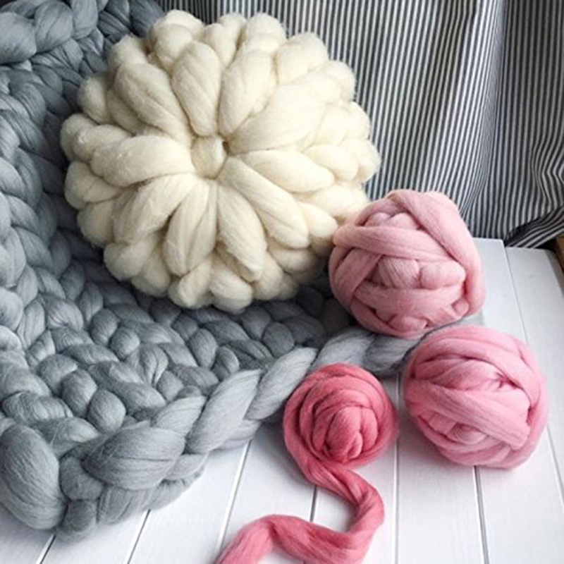 250g/pc Hand Knit Photo Props Thick Line Knitted Blanket Blending Anti-Pilling Super Soft Used In Bed Plane Cobertor 29