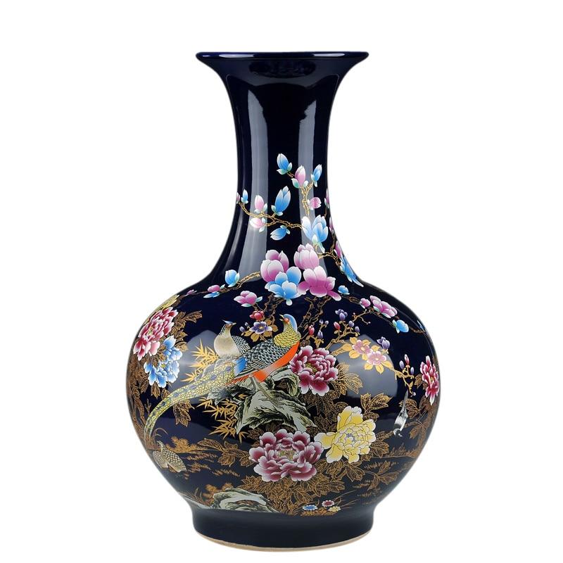 Home Decor Fine Jingdezhen China Ceramic Big Flower Vase Royal Blue