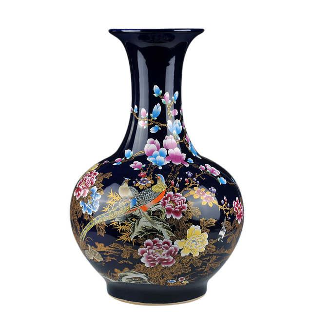 Online Shop Home Decor Fine Jingdezhen China Ceramic Big Flower Vase Royal Blue Crystal Glaze Handpainted Porcelain Large Floor Vases