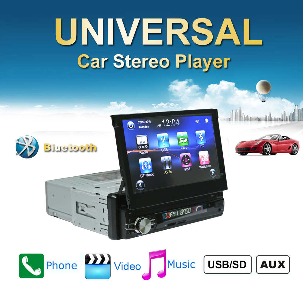 Car Radio Stereo Universal 7 inch slip down Touch Screen 1DIN Car Stereo FM AM with USB SD Bluetooth MP3 MP4 Audio Player CW0013 7 inch slip down 1din car stereo fm only bluetooth mp3 mp4 player with usb sd