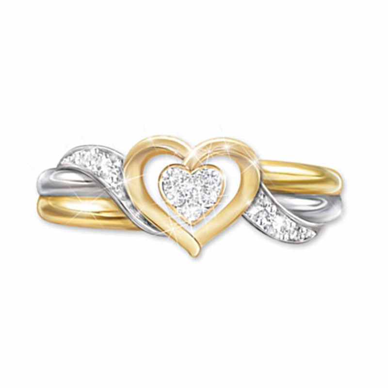 Modyle 2019 ใหม่แฟชั่นทองเงินสีขาว Zircon คริสตัลแต่งงานแหวนผู้หญิง Party ของขวัญ