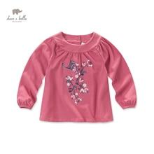 DK0437 дэйв белла осень новорожденных девочек напечатаны футболку девочки розовый цветок тройник гирс топ