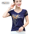 Brand Clothing 2017 Summer Women's T-shirt V-neck Lace Shirts Slim Fit Female T Shirts Casual Tops Tee Plus Size 4XL JA2214