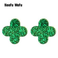 NeeFu WoFu Drop Flash Resin Earrings Clover Big Earring Large Brinco Ear Brand Earrings Accessories Oorbellen Gift 2018 цена в Москве и Питере