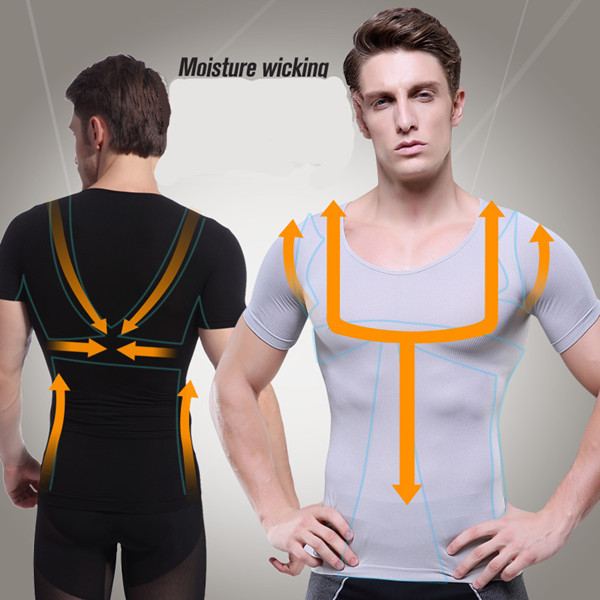 Men Absorbant Underwear Body Shaper Tummy Belly Cincher Waist Tight Trainer Lose Weight Slimming Body T Shirt Tank Top