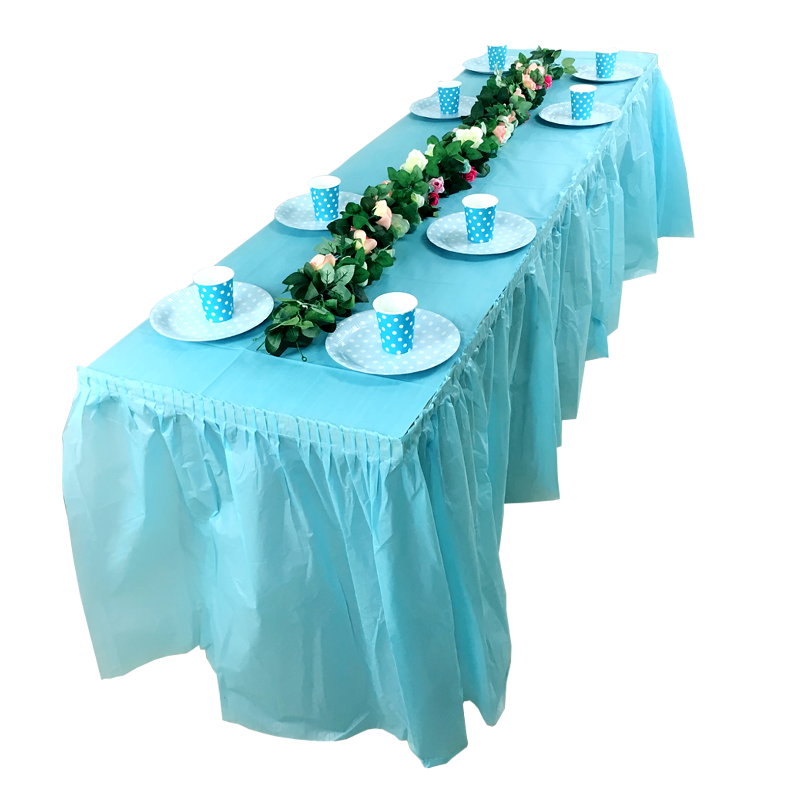 1pcs Disposable PEVA Table Skirt Birthday Party Plastic Table Cover For Wedding Baby Shower Home Table Skirting Decoration