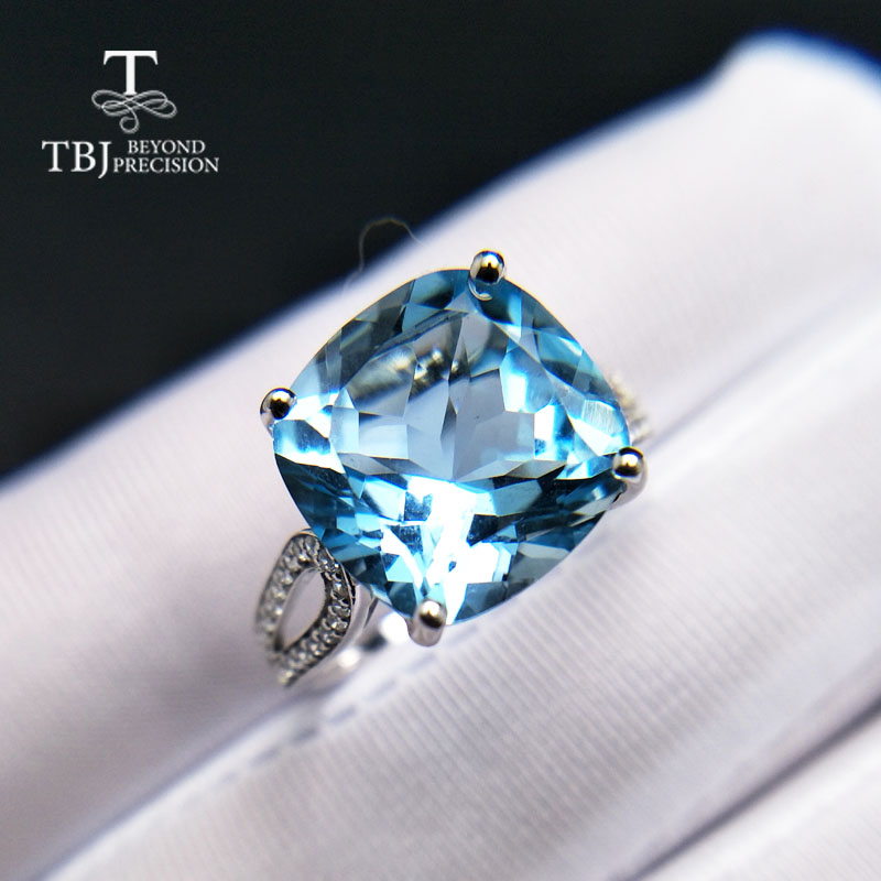 TBJ,Big natural sky blue topaz gemstone Ring Cushion12mm 8.5ct in 925 sterling silver fine jewlery for women  with gift boxTBJ,Big natural sky blue topaz gemstone Ring Cushion12mm 8.5ct in 925 sterling silver fine jewlery for women  with gift box