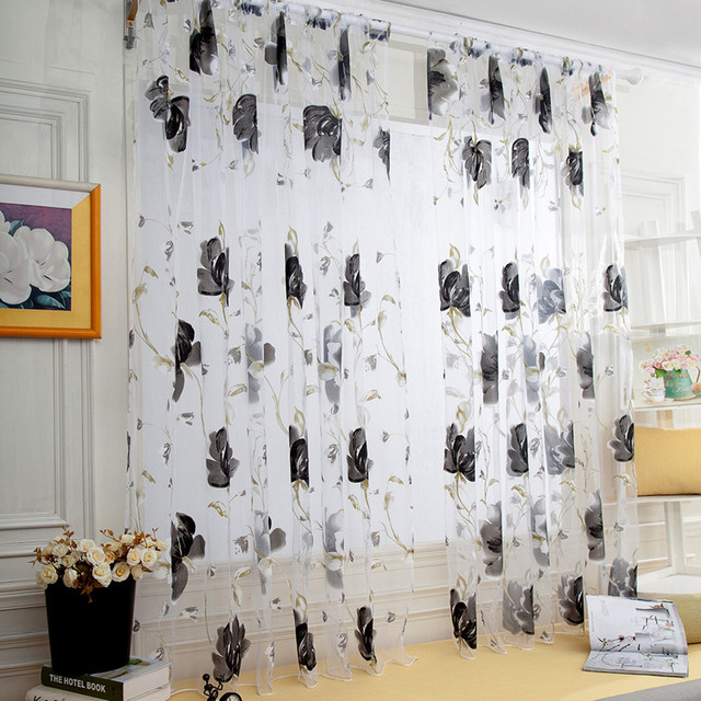 Vines Leaves Tulle Door Window Curtain Drape Panel Sheer Scarf Valances Drapes In Living Room Home Decor Sheer Voile Valances 2