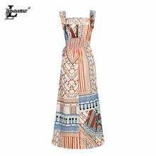 Lei SAGLY Fashion Women Bohemian Dress Chiffon Print Slah Neck Beach Summer 2019
