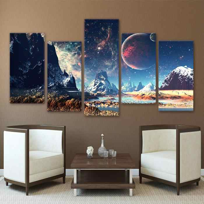 5 Panels Canvas Prints Painting Wall Art Snow Mountains and Space Aurora Lights Painting  snow mountain