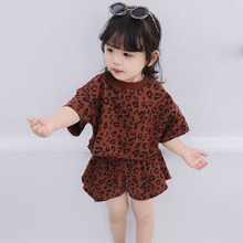 купить 2019 Summer Toddler Kids Girls Clothing Sets Leopard Casual Baby Girl Blouse+Shorts 2pcs Girls Clothes Suits 1 2 3 4 5 6 7 Years дешево