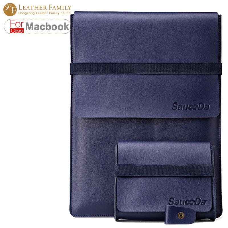 ФОТО For macbook pro 15 case Genuine cown Leather bag for macbook air 11 12 retina pro 13.3 15.4 inch laptop with Mouse Charger pouch