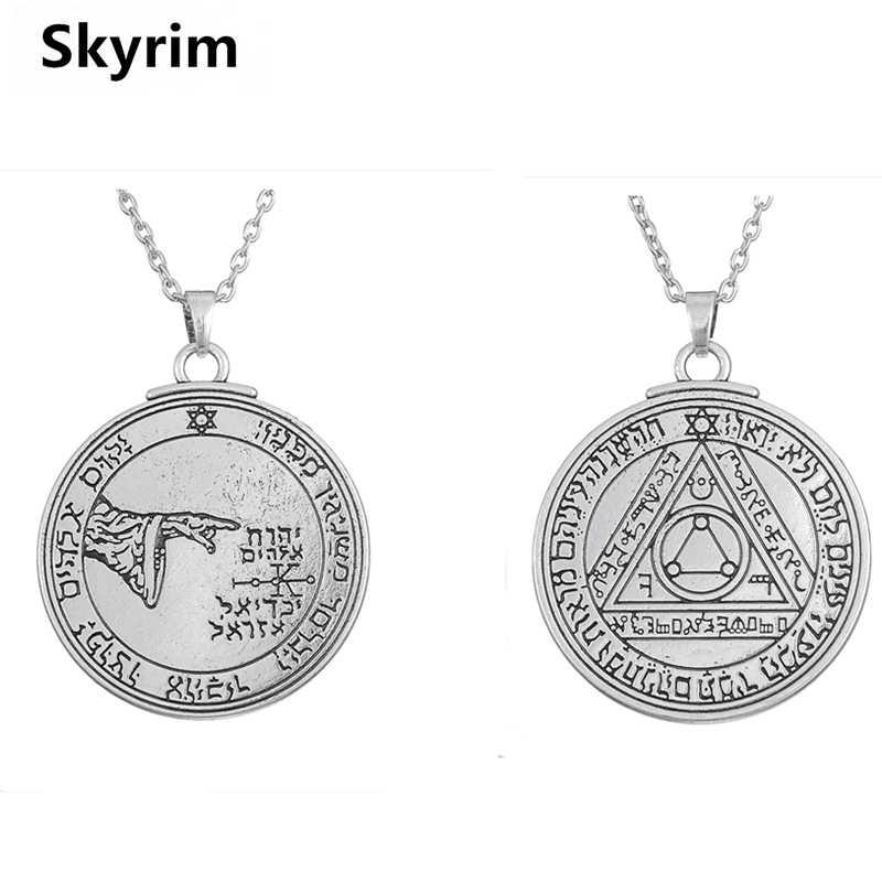 Skyrim unikalny dwustronny naszyjnik Wicca kompas matematyka/księżyc talizman klucz salomona okrągły urok biżuteria