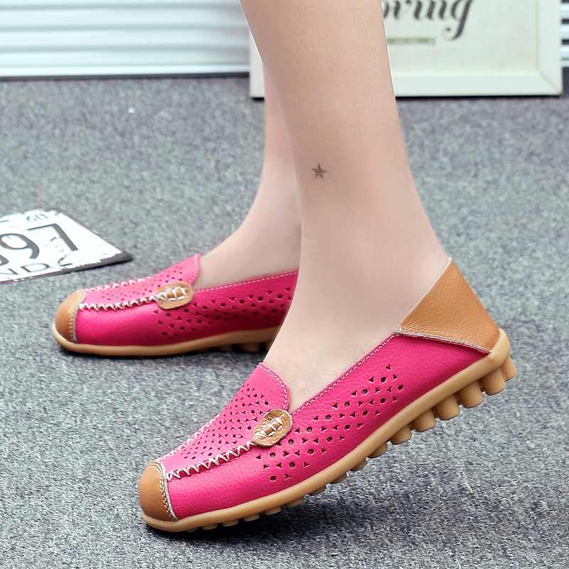 c2864caad8b7 ... Women Ballet Flats Genuine Leather Loafers Square Toe Moccasins Femme  Slip On Shallow Casual Shoes Chaussures ...