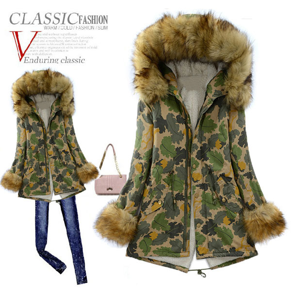 ФОТО 2014 New Winter Thick Warm Cotton Padded Jacket Women'S Loose Camouflage Fur Collar Hooded Print Coat Parkas Plus Size 2XL H2914