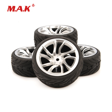4Pcs/Set 1:10 Scale Rubber Tires & Wheel Rims with 6mm Offset fit 1/10 RC On-road Racing Car Model Toys Accessories цена в Москве и Питере