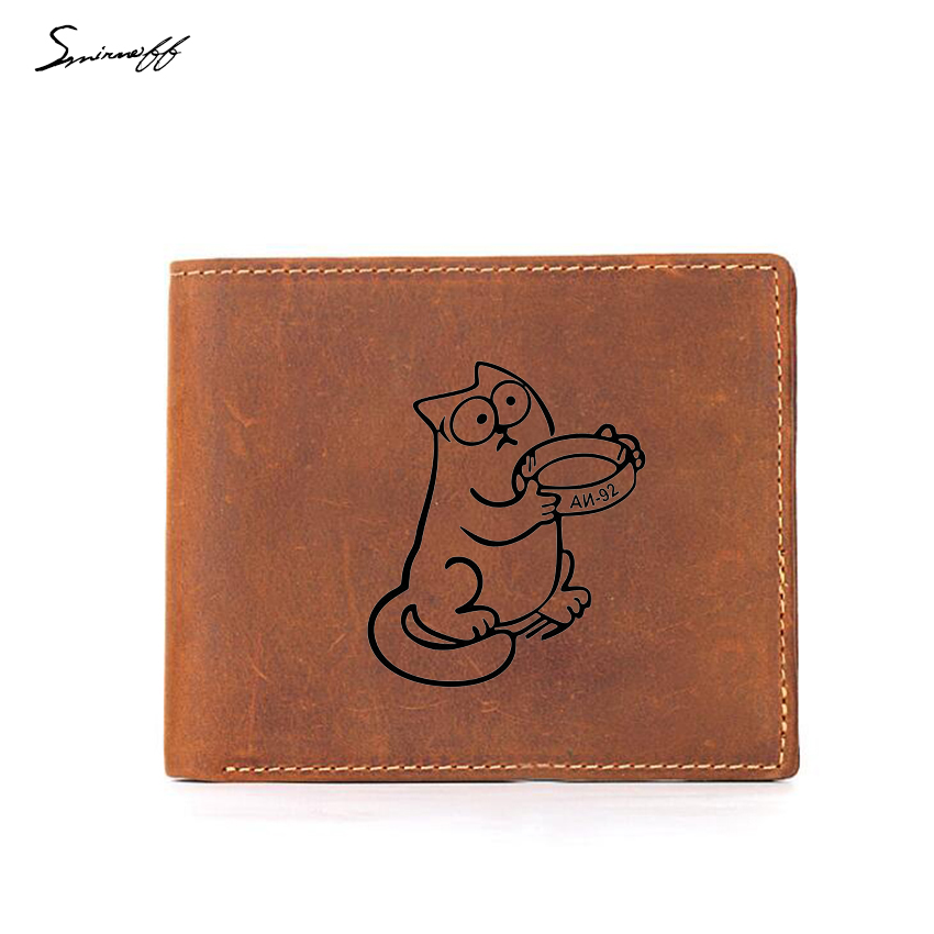 Simons Cat Animal Cartoon Wallets Boys Multi Card Holders Small Purse Leather Bags Men Custom Logo Coin Pocket Wallet