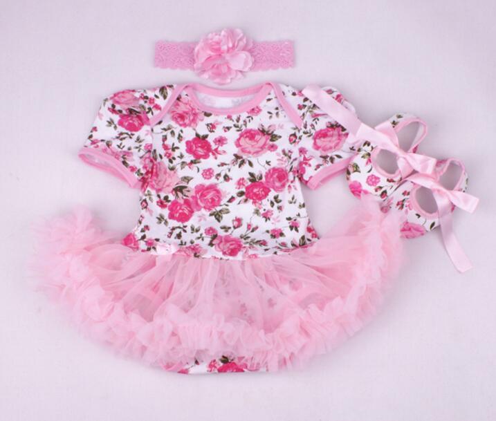 22 Inch Reborn Babies Doll Clothes Rose Flowers Dress Shoes Suit Fit
