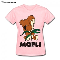 Women Fashion Cotton Short Sleeves Cartoon Mofli Cubs Ladie T Shirt Brand Clothes Summer Harajuku Women