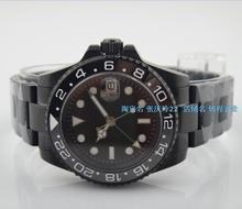 40 ММ PARNIS GMT Автоматический Self-ветер движение Механические часы мужские часы PVD черный сапфировое стекло 355