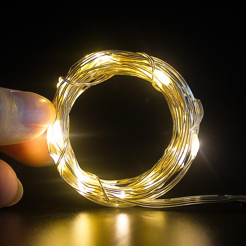 1M 10Leds Jõulutuled LED Vasktraat Fairy String Lights Aku Juhitud - Puhkusevalgustus - Foto 4
