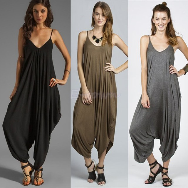 e1ade55c26c7 New Europe Fashion Lady Black Spaghetti Strap V Neck Loose Jumpsuit Casual  Rompers Overalls Bodysuit Playsuit 12