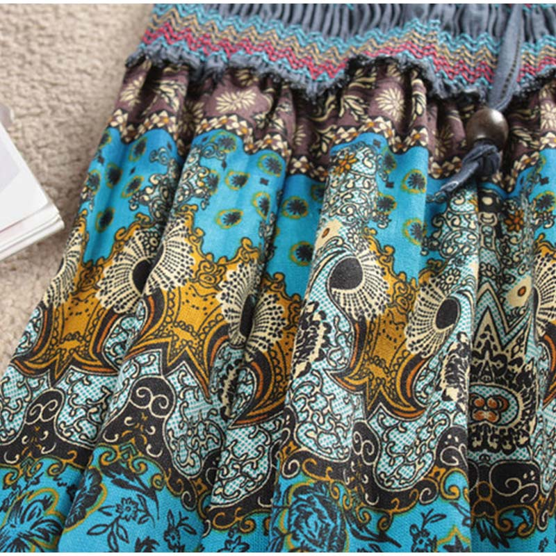 HTB1riviSSzqK1RjSZPcq6zTepXaS - Boho Floral A-line Women's Maxi Skirt Elastic High Waist Sashes Vintage Pleated Womens Skirts Summer Fashion Clothes Female