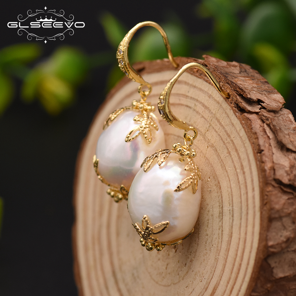 цена на GLSEEVO Natural Fresh Water Baroque White Pearl Drop Fish Hook Women Earrings pave Zircon Jewellery Pendientes Mujer Moda GE0320
