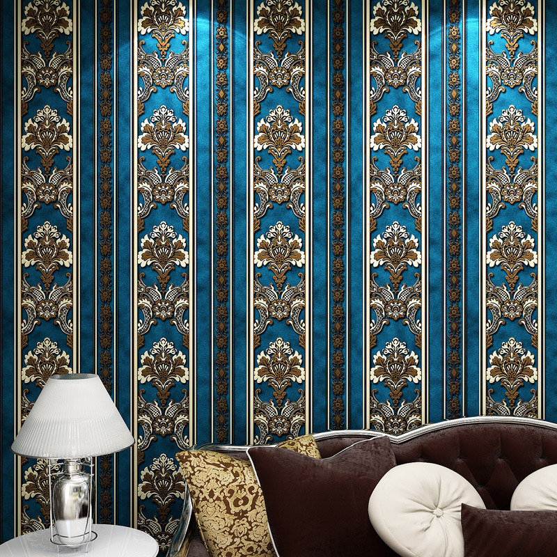 European luxury blue gold Damascus Non-woven wallpaper TV background wallpaper roll wall paper papel de parede 3d contact paper beibehang of wall paper european 3d damask pattern wallpaper non woven stripe wall paper roll top mural 3d papel parede
