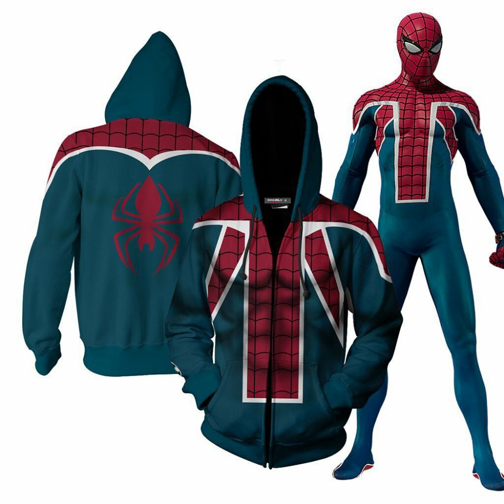 Game Marvels Spider-man Hoodie PS4 Sweatshirts Jacket Cosplay Costume Halloween Men Woman Top