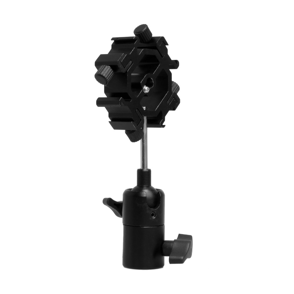 Swivel Four Quadruple Flash Light Stand Umbrella Holder Bracket Hot Shoe Mount Adapter