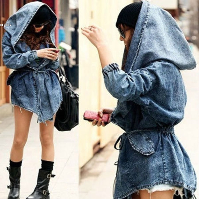 3dc14d55b Women's Hot Denim Trench Coat Hooded Jeans Cowboy jack New Cowboy ...