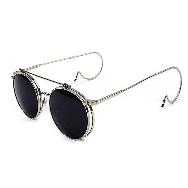 2016 New Vintage Round Flip Up Sunglasses Women Men Retro Steampunk Mirrored Glasses Points Fashion Brand Shades FozMOOXj