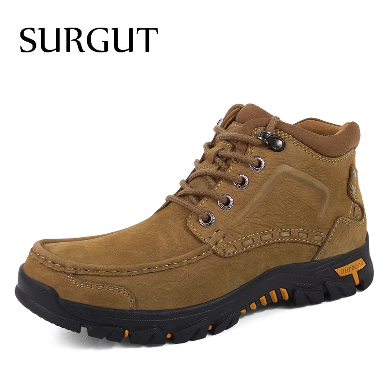 SURGUT 2019 New Arrival Autumn Winter Boots Men  Leather Style Fashion Male Work Shoes  Martin Ankle Snow Boot Large Size 38~47