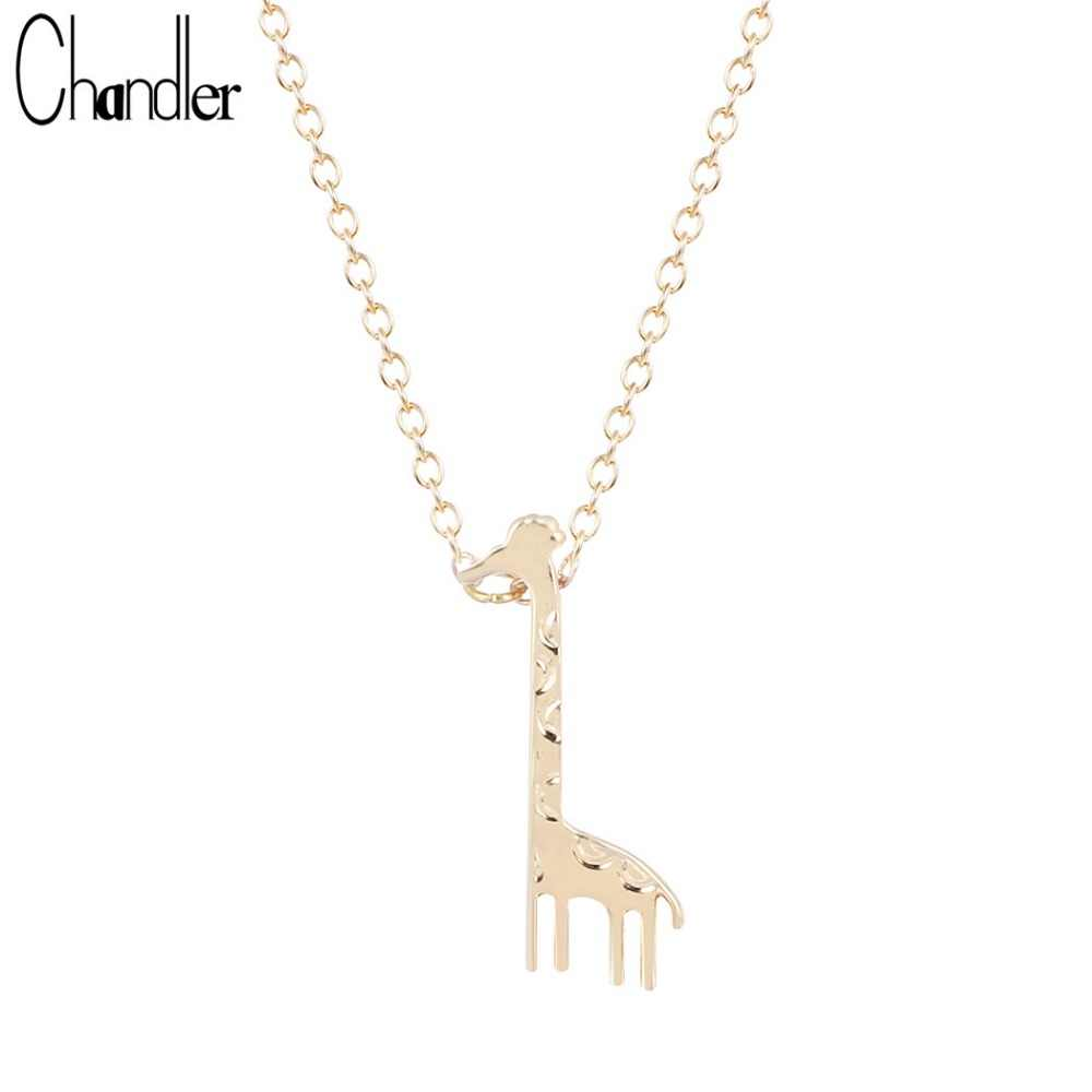 Chandler New Silver Gold Color Giraffe Pendant Necklaces For Women Girafe Animal Charm Body Colar Masculino Korean Homme Bijoux