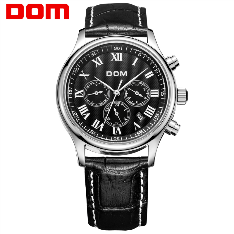 DOM men watches top brand luxury watch waterproof mechanical watch leather watch Business reloj hombre marca de lujo M-56L mens watches top brand luxury 2017 aviator white automatic mechanical date day leather wrist watch business reloj hombre